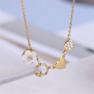 Kate Spade Mini Pendant Girls Flowers Diamond Necklace With Dust Bag