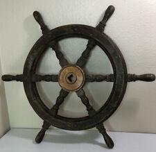 "24"" Nautical Wooden Ship Steering Wheel"