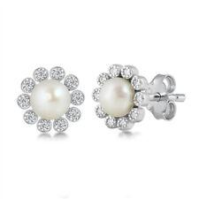 925 Sterling Silver Freshwater Pearl Earrings CZ Cubic Zirconia Halo