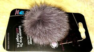 NUCKEES PHONE GRIP & STAND  Custom Grip Real Rabbit Fur POM POM NEW