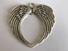 Tibetan Alloy Antique Silver LARGE Angel Wing Heart Pendants Connectors Feather