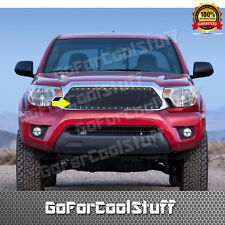 For Toyota Tacoma 2012 2013 2014 2015 Steel Black Mesh Grille W/ Silver Rivet