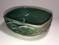 Vintage Studio Art Pottery  Bowl Green Glaze Artist Signed See Pics, Very Nice!