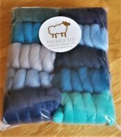 250g Assorted blue colours 100% Pure Merino Wool Tops Roving for felting