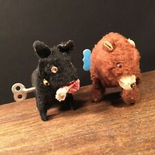 Vintage Toy Wind-Up Lot (2) Japan Modern Toys Working Bear Dog PRIORITY MAIL