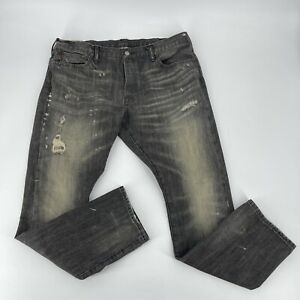 Polo Ralph Lauren Jeans Mens Size 38 X 32 Sullivan Slim Gray Distressed Straight