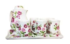 Porcelain Tea Set 8pc Teapot 6 x Cups and Serving Tray Vintage Flower Tea Set