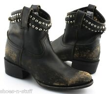 Women's FRYE 'Diana' Black Cut & Studded Short Leather Boots Size US 7 - B