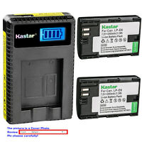 Kastar Battery LCD Charger for Canon Original Genuine Battery LP-E6N LP-E6 LPE6