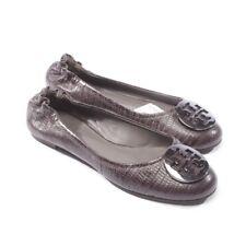 TORY BURCH Ballerinas Gr. D 38 US 8 Grau Damen Schuhe Shoes Flats Leder Cuir