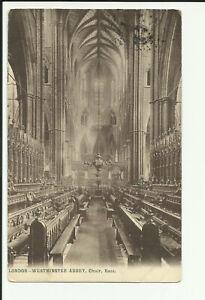 Postcard Stamp GB 1906 KEVII Vintage LESCO B&W LONDON WESTMINSTER ABBEY Choir