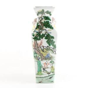 "16"" Antique Chinese Square Porcelain Vase w/ Elephant Ears"