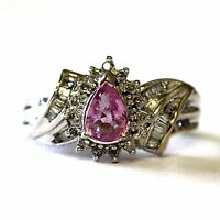 14k white gold .40ct SI2 H women's diamond pink topaz cluster ring 5.6g estate