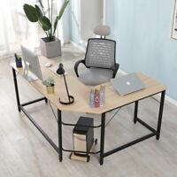 Wood L-Shaped Desk Corner Computer Table Office Desk laptop Table Metal Frame
