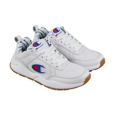 Champion 93 Eighteen Big Mens White Leather Low Top Lace Up Sneakers Shoes