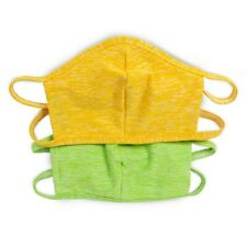 2 Pack Washable Face Cover - Made in USA (One Size) Green/Yellow - Filter Insert