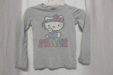 Hello Kitty Peach Hippie Grey T-shirt Long Sleeve Sz Med Kids
