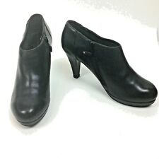 Woman's Cynthia Rowley Lovebird Bootie Shoes Black Leather Zip up Sz.7.5