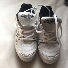 Rawlings WHITE BASEBALL CLEATS Shoes Kids Size 2- Rubber Spikes-NWOB OR TAG