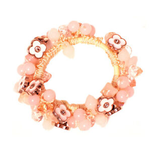 Mia Beaded Ponytailer Elastic Rubber Band Hair Accessory Pink Crystals + Flowers