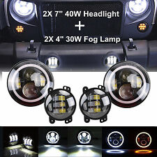"Pair 7"" LED Halo Headlights & 4inch Fog Light DRL Kit For Jeep Wrangler JK LJ TJ"