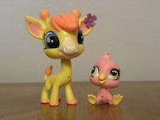 Littlest Pet Shop LPS #3812 Pierre De Long Giraffe and #3813 Siesta Perez Bird