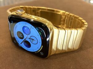 Custom 44mm Apple Watch Series 4 Stainless Steel 24K Gold Plated Link Cell-GPS