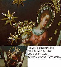 DECORAZIONE QUADRO TELA MADONNA DI POMPEI CM. 50X73 ELEMENTI IN OTTONE DORATO