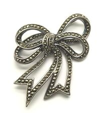 Vintage Oxidized Sterling Silver 925 Marcasite Chunky Bow Ribbon Loop Pendant