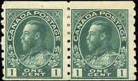 1922 Mint H Canada Pair 2c F Scott #128 Admiral KGV Coil Stamps