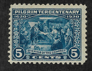US #550 (1920) 5c Pilgrim Tercentenary: Signing of the Compact - MH - VF