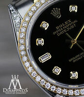 Ladies Black Rolex Steel 18K Gold 36mm Datejust Diamond Jubilee Watch 2 Tone