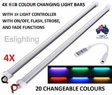 4X 25CM LED STRIP LIGHT BARS RGB MULTI COLOUR CHANGING 12V CAMPING CAR UTE 4WD