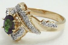 ALEXANDRITE 0.69 Carats & DIAMONDS RING 14k Yellow Gold *** New with Tag ***