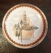 "Spain Vintage Decorative Plate Rica Gold Metalic 9"" Porcelain"