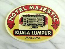 HOTEL MAJESTIC, KUALA LUMPUR, MALAYA...RARE VINTAGE ORIGINAL LABEL...1920