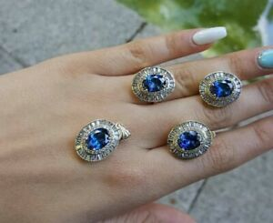 925 STERLING SILVER TURKISH HANDMADE JEWELRY SAPPHIRE LADY SET RING SIZE 8.5