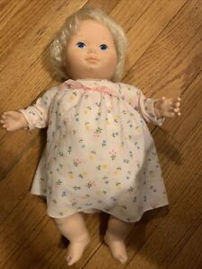 """1977 Fisher Price Doll Vintage Baby Beth Doll 16"""" with pink dress"""