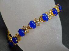 Gold Plate Blue JADE Cabochon Bead Bangle Bracelet Diamond Imitation 322834