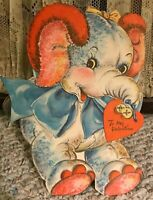 RARE Vintage LARGE Stand Up Old Valentine's Day Elephant Card~BIG Bow on Neck