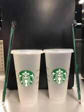 New Starbucks Reusable Venti 24 fl oz Frosted Ice Cold Drink Cup 2018 Set of 2