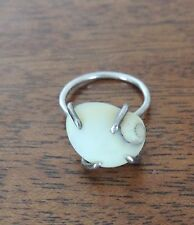 Unique White Shell Ring on Silver Plated Ring 7.75