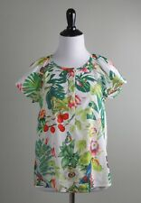 J.CREW $98 Ruffle Sleeve Top in Butterfly Ratti into the Wild Size 2 Petite