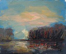 Sonniger Spätherbsttag am See Ölgemälde Leinwand 15,5 x 19 cm Fred Nömeier *1938