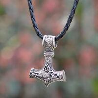 1pcs Mens Nordic Viking Mjolnir Pendant Leather Chain Myth Thors Hammer Necklace