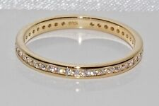 9ct Gold on Silver Sparkling Simulated Diamond Full Eternity Ring ~ All Sizes