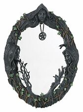 """Mother Maiden Crone Triple Goddess Mirror with Amulet 17.5"""" H"""