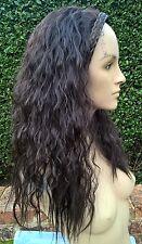 very dark brown wavy curly frizzy puffy 3/4 half head long hair wig