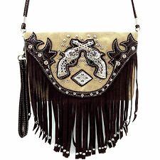 Messenger Bag Feature Double Pistol Fringe Hipster Crossbody Purse Wallet Brown