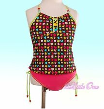 Girl Black Hot Pink Tankini Swimsuit Swimwear Swimming Costume 2 Pc Size 4-5 030